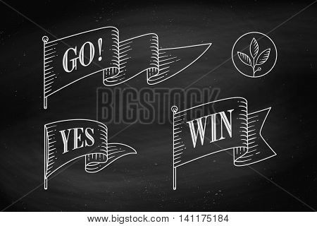 Set of old vintage flag with linear drawing of rays and text on flag Go, Yes, Winner. Vintage drawing flag in engraving style on chalkboard background. Hand drawn design element. Vector Illustration