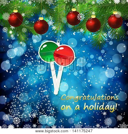Vector New Year design background. Template card whit red Christmas balls on the green branches . Silhouette of a Christmas tree made of stars. Falling snow. Toy decorative lollypop.