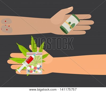 Drug buy. Give money and take drugs vector illustration