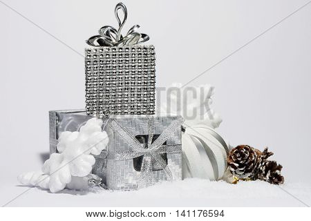 Merry Christmas trendy shinny decorations in silver color composition