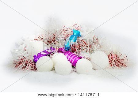 Christmas decoration composition in white purple and blue. New Year 2016 colorful decor