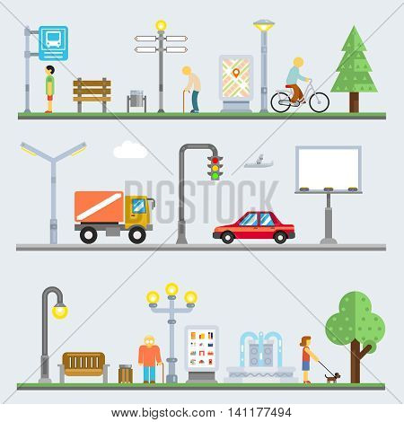 Urban landscape set. Vector cityscape or street landscapes set with people and city items. Infrastructure, transportation, signboard