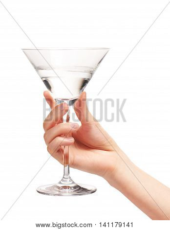 Female Hand Holding Clean Martini Glass With Water