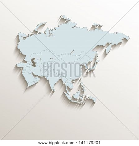 Asia political map white blue 3D raster