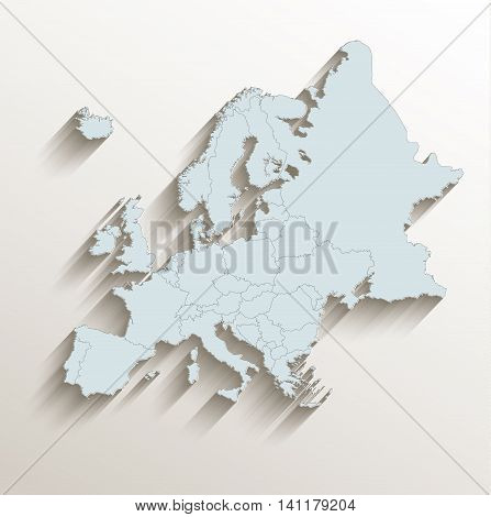 Europe political map white blue 3D raster