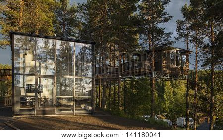 GRANO, SWEDEN ON JUNE 25. Closeup view of a Birds Nest up among the trees on June 25, 2016 in Grano Beckasin, Sweden. Birds nest - A comfortable Hotel in the Trees. Editorial use.