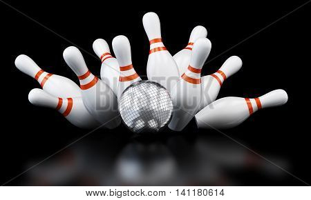 bowling strike disco ball 3D illustration rendering
