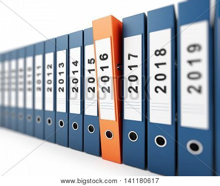 office folders new year 2016 on a white background 3d illustration