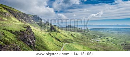 Panoramic View of Quiraing Hill in the Isle of Skye Scotland