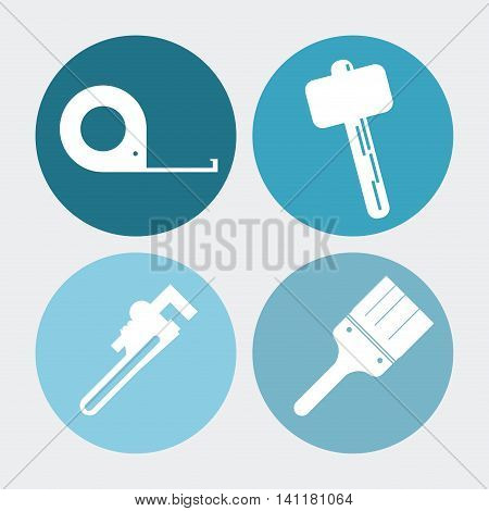 wrench meter hammer paint brush tool icon. Repair construction concept. Circles and Colorfull illustration. Vector graphic