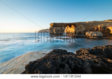 Sunset On Azure Window, Dwerja, Gozo, Malta.