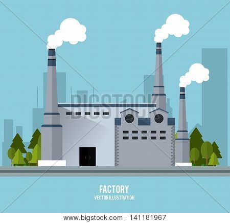 Plant trees building chimney factory industry icon. Blue background and Colorfull illustration. Vector graphic