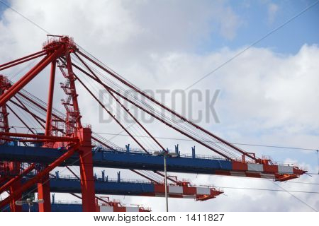 Crane At Landing Stage At Hamburg Harbor, Germany 03