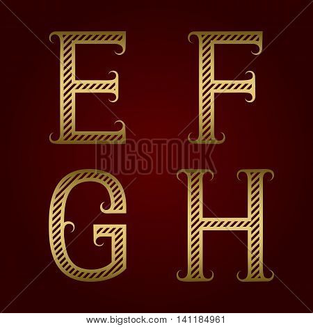 E F G H golden striped letters with flourishes. Diagonal stripes vintage font.