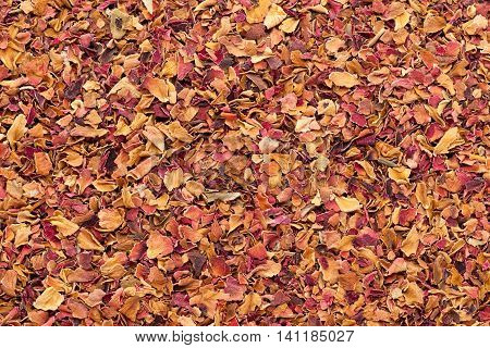 Organic dry rose petals (Rosa x centifolia). Macro close up background texture. Top view.
