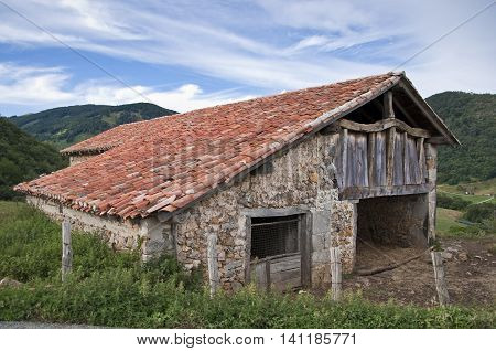 Traditional stone shed in Navarra countryside, Spain