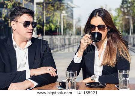 Business Partners Drinking Coffee