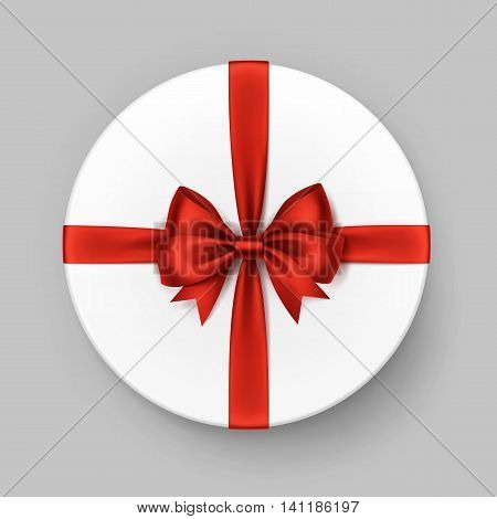 Vector White Round Gift Box with Shiny Red Satin Bow and Ribbon Top View Close up Isolated on Background