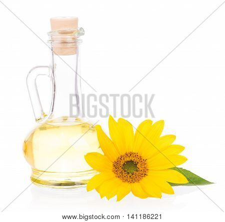 Sunflower oil with flower isolated over white background