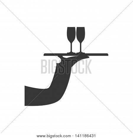 Plate cup arm hand waiter kitchen restaurant icon. Isolated and flat illustration. Vector graphic