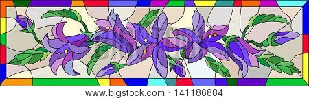 Illustration in stained glass style with flowers buds and leaves of bluebells flowers