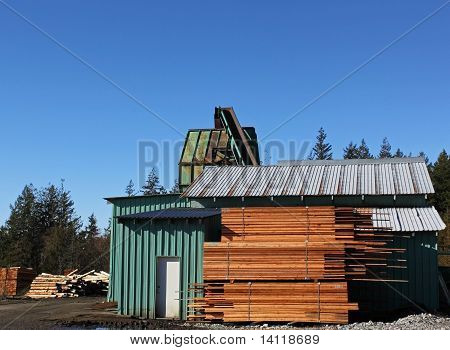 sawmill wood chip shack