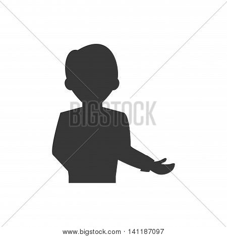 Waiter male avatar suit person icon. Isolated and flat illustration. Vector graphic