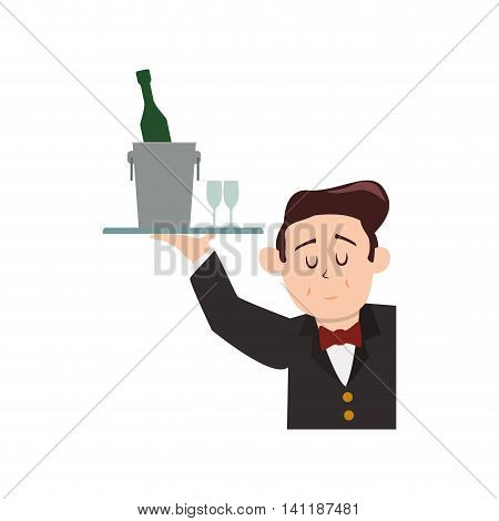 Waiter bottle male avatar suit person icon. Isolated and flat illustration. Vector graphic