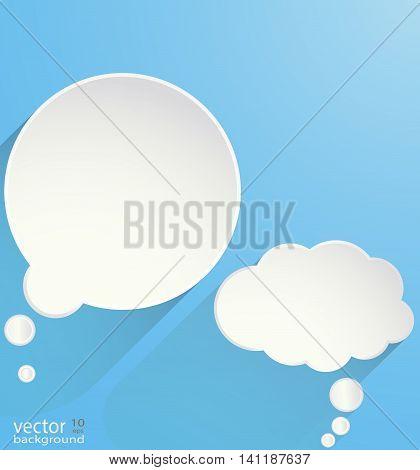 white Speech bubble Icon on blue background