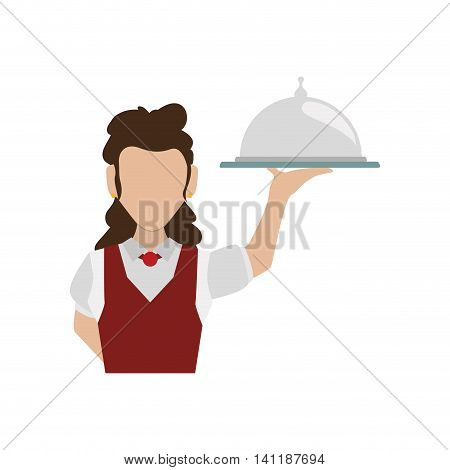 Waiter female avatar suit person icon. Isolated and flat illustration. Vector graphic