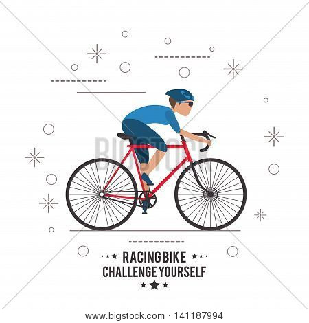 bike cycle bicycle racing man male boy cartoon helmet challenge yourself icon. Flat and Colorfull illustration. Vector graphic