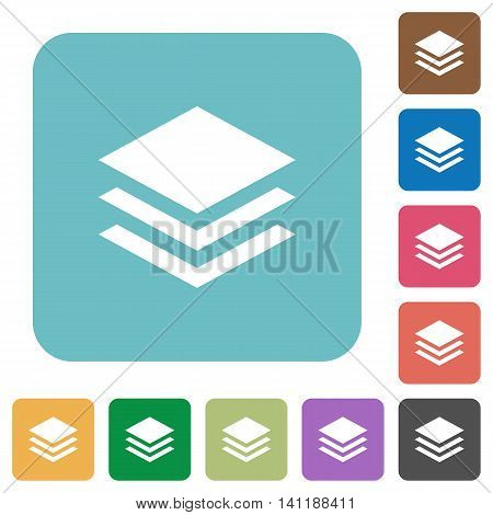 Flat layers icons on rounded square color backgrounds.