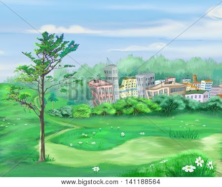 Digital Painting Illustration of the rural landscape with lonely tree and small city on background. Cartoon Style Character Fairy Tale Story Background.