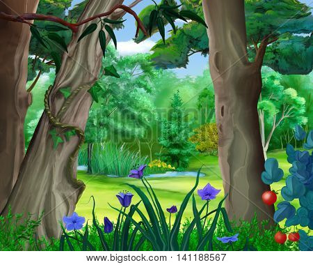 Digital Painting Illustration of a small pond in the forest in a summer day. Cartoon Style Character Fairy Tale Story Background.