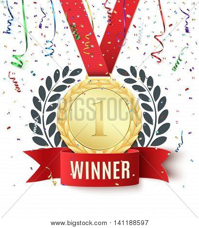 Winner, champion, number one background with red ribbon, gold medal, olive branch and confetti on white. Blank poster or brochure template. Vector illustration.