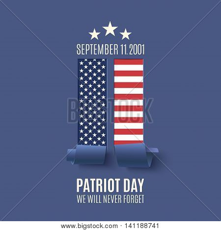 Patriot Day background with abstract New York Twin Towers. 11 September, National Day of Remembrance. Vector illustration.