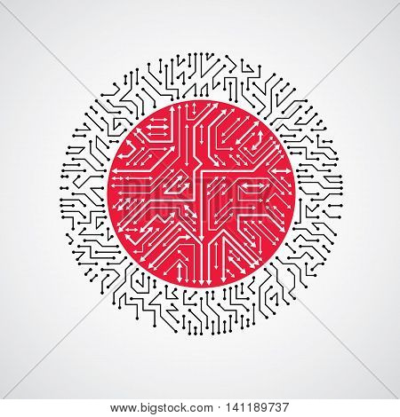 Vector Abstract Technology Illustration With Round Black And Red Circuit Board. High Tech Circular D