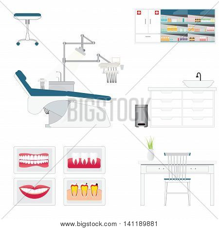 Dental care supply with medical dental and furniture armchair table and poster vector illustration.