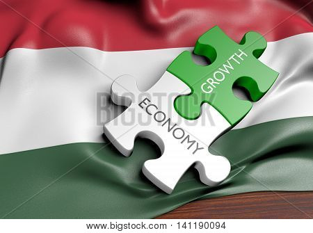 Hungary economy and financial market growth concept, 3D rendering