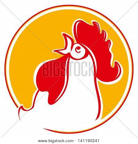 Silhouette of the head. Illustration of a chicken rooster crowing viewed from the side set inside circle on isolated background. Chinese New Year of the Rooster. Head of rooster in red color.