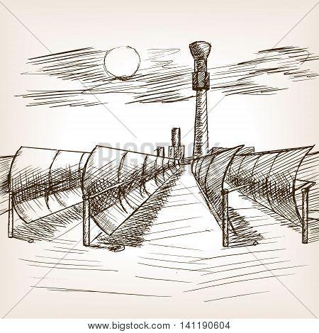 Solar mirror power plant sketch style vector illustration. Old hand drawn engraving imitation.