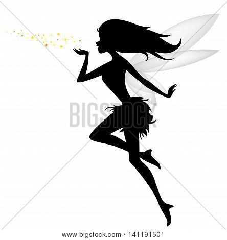 funny fairy silhouette flying for you design