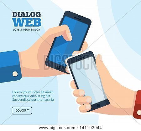 Web dialog, chatting. vector pictures set of two hands with smartphones. Pictures with place for your personal design on the screen. Isolate on white background