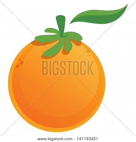 Cartoon vector graphic juicy fresh orange fruit with green leaf