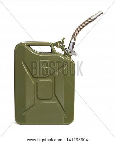 Jerrycan with flexi pipe spout isolated on white.
