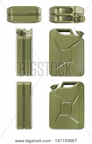 Closed jerrycan. Set of all projections. Isolated on white.