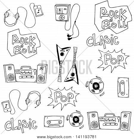 Music set doodles vector collection stock illustration