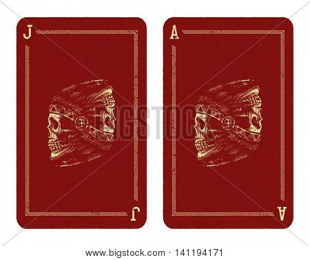 Playing cards design. Skull indian chief hand drawing style