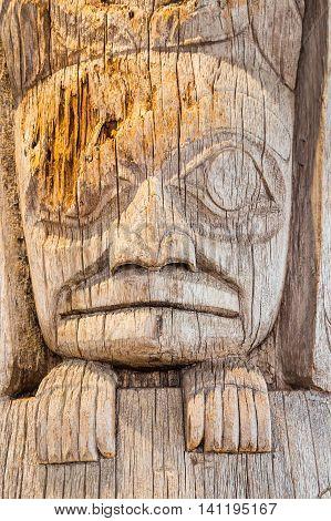 Ancient wood Inuit Totem pole  in Alaska