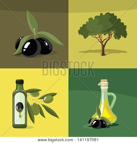 vector illustrations set of Olives, tree, oil botles and leaf isolated on four diferent color backgrounds. Pictures for your personal design project.